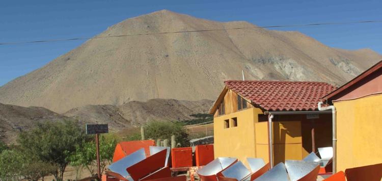 View of the solar ovens of the Villaseca solar restaurant