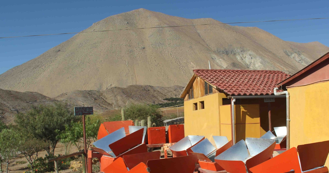 View of the solar ovens of the Villaseca solar restaurant
