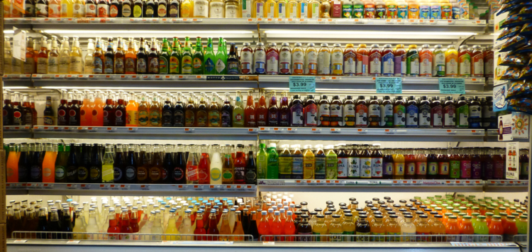A range of sodas in an American supermarket