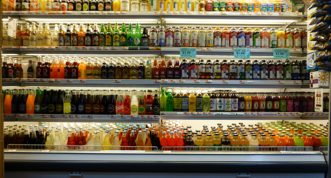 A range of sodas in an American supermarket