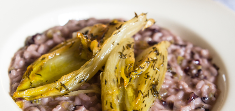 A risotto with radicchio and caramelized endives
