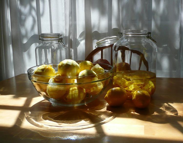 Home-made limoncello